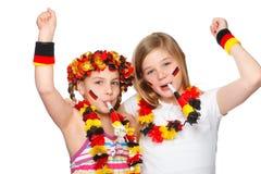 Ventiladores alemanes jubilating Imágenes de archivo libres de regalías