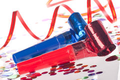 Ventiladores, bobinadores de cintas en modo continuo y confeti del partido Imagen de archivo libre de regalías
