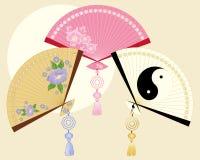 Ventiladores chinos ilustración del vector