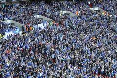 Ventiladores da cidade de Cardiff que comemoram um objetivo Imagens de Stock Royalty Free