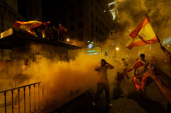 Ventiladores de España que celebran la victoria Imagen de archivo