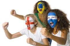 Ventiladores de esporte internacionais Fotos de Stock