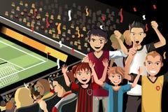 Ventiladores de fútbol en estadio ilustración del vector