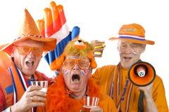 Ventiladores de fútbol holandeses foto de archivo