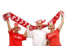 Ventiladores de fútbol polacos fotografía de archivo