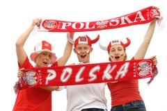 Ventiladores de fútbol polacos fotos de archivo