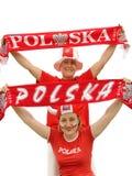 Ventiladores de fútbol polacos imagenes de archivo