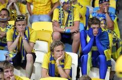 Ventiladores de fútbol suecos Fotos de archivo libres de regalías
