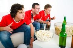 Ventiladores de futebol fotografia de stock