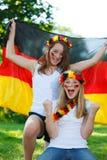 Ventiladores de futebol alemães ao ar livre Fotografia de Stock Royalty Free