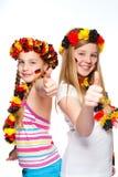 Ventiladores de futebol alemães com polegares acima Imagens de Stock Royalty Free