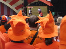 Ventiladores de futebol holandeses Foto de Stock Royalty Free