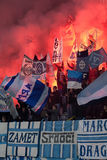 Ventiladores de futebol que comemoram no estádio Fotografia de Stock