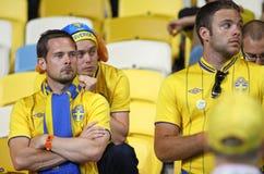 Ventiladores de futebol suecos Foto de Stock Royalty Free