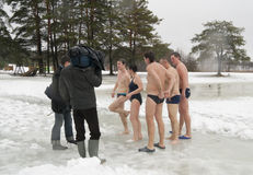 Ventiladores de la natación del invierno Fotos de archivo libres de regalías