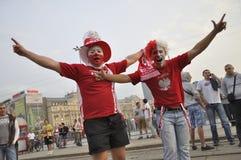 Ventiladores de Polonia en el EURO 2012 Fotos de archivo libres de regalías