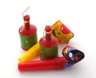 Ventiladores e poppers do partido Imagem de Stock