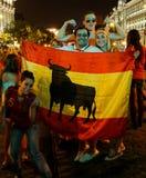 Ventiladores felices de España Foto de archivo libre de regalías