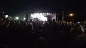Ventiladores no concerto de rocha Festival ao ar livre na noite video estoque