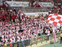 Ventiladores polacos del voleibol imagen de archivo