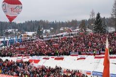 Ventiladores poloneses do salto de esqui em Zakopane fotografia de stock