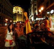 Ventiladores que comemoram a vitória Fotografia de Stock Royalty Free