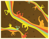 Ventiladores retros del arco iris ilustración del vector