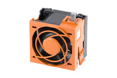 Ventilateur avec la cage orange de protection Images stock