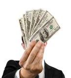 Ventilateur d'argent dans les mains Images libres de droits