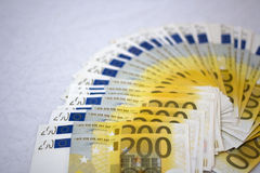 Ventilateur de 200 euro notes photo stock