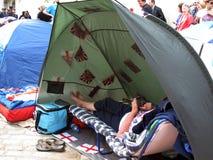 Ventilateur royal de mariage dans la tente Photographie stock libre de droits