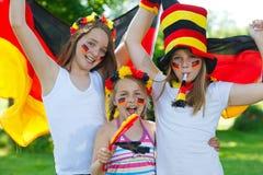 Ventilateurs de football allemands extérieurs Photographie stock libre de droits
