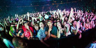 Ventilateurs de Skrillex chez Bumbershoot Photo stock