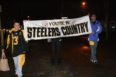 Ventilateurs de Steelers célébrant la victoire Photographie stock
