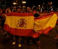 Ventilateurs heureux de l'Espagne Photo stock