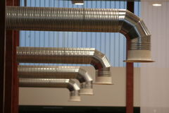 Ventilation. Metallic ventilation pipes in new building Royalty Free Stock Photos