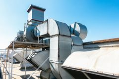 Free Ventilation Air Duct And HVAC Cleaning System, Exhaust Hood For Air Blower In Manufacturing Food. Industrial Equipment Royalty Free Stock Image - 144548976