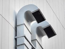Free Ventilation And Air Conditioning Pipe Installed Outside The Building. Stock Photography - 162638292