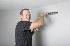 Ventilation cleaner man at work with tool stock photos