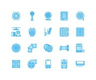 Ventilation equipment flat line icons. Air conditioning, cooling appliances, exhaust fan. Household and industrial. Ventilator thin linear signs for store Royalty Free Stock Photos