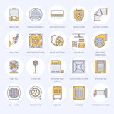 Ventilation equipment flat line icons. Air conditioning, cooling appliances, exhaust fan. Household and industrial stock illustration