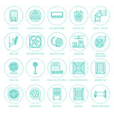 Ventilation equipment flat line icons.  Royalty Free Stock Image