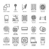 Ventilation equipment line icons. Air conditioning, cooling appliances, exhaust fan. Household and industrial ventilator stock illustration