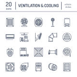 Ventilation equipment line icons. Air conditioning, cooling appliances, exhaust fan. Household and industrial ventilator. Thin linear signs for store Royalty Free Stock Photos