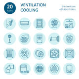 Ventilation equipment line icons. Air conditioning, cooling appliances, exhaust fan. Household and industrial ventilator vector illustration