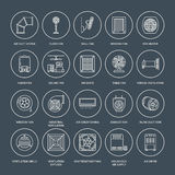 Ventilation equipment line icons. Air conditioning, cooling appliances, exhaust fan. Household and industrial ventilator. Thin linear signs for store Stock Image