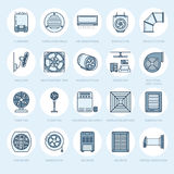 Ventilation equipment line icons. Air conditioning, cooling appliances, exhaust fan. Household and industrial ventilator. Thin linear signs for store Stock Photos