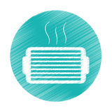 Ventilation grill icon. Inside blue circle over white background. colorful and sketch design. vector illustration Royalty Free Stock Photography