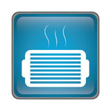 Ventilation grill icon. Inside blue square over white background. vector illustration Stock Photo