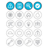 Ventilation, heat and air conditioning icons. Report, check tick and attention signs. Engineering icons. Ventilation, heat and air conditioning symbols. Water Stock Photography